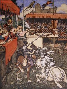 """""""Two Knights Joust in Ireland"""" (Sir Tristram defeats Sir Palamedes in Ireland)-  by Arthur Rackham for 'Stories of King Arthur'"""