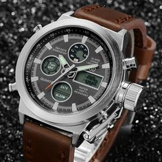 Relógio quartzo Digital LED Top de luxo, para natação e esportes ao ar livre militar, com pulseira de couro.