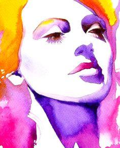 Lana Fine Art Print Original Watercolor Painting Blonde
