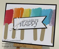 Sneak Peek - Watercolor Wonder Popsicles April Card Class (5 of 5) Ideas (Inspired by Laurie Ludwig) Carol Lovenstein - Stampin' Up!
