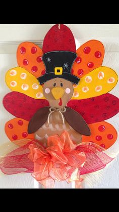 THANKSGIVING /TURKEY DOOR Hanger Wreath Home Decor on Etsy