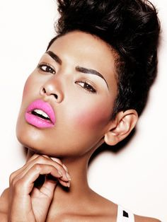 hot clear pink for black women #makeup #cosmetic #colorful #lipstick #mascara #eyeliner #face #lips #beauty #model #pink #eyes #shades #editorial #photoshoot