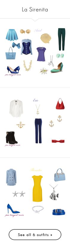 """La Sirenita"" by lawgirl-miz on Polyvore featuring disney, thelittlemermaid, disneybound, M&S Collection, Manila Grace, Barrie, Shoes of Prey, Nine West, MICHAEL Michael Kors and Skinnydip"