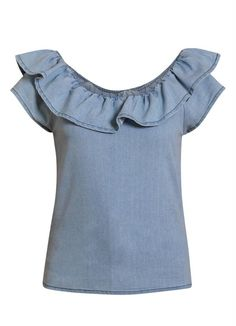Dressy Tops, Casual Tops, Unique Fashion, Fashion Looks, Denim Fashion, Fashion Outfits, Dress Indian Style, Frocks For Girls, Couture Tops