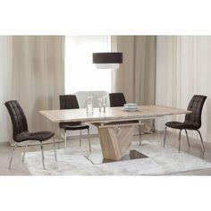 mesa extensible con pata central en color roble medidas xxcm
