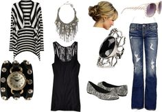 black and white casual, created by mamatelly88 on Polyvore