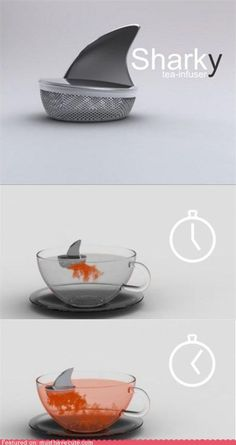 Want this tea device, the Sharky tea infuser? You put your tea in the bottom compartment, attach the dorsal fin top, and set it afloat in your (preferably glass) cup. The effect of the tea infusing into the water from the shark appears both beautiful and exciting. In the words of the Argentinian designer Pablo Matteodo: