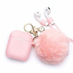 Airpods Case - BlUEWIND Drop Proof Air Pods Protective Case Cover Silicone Skin for Apple Airpods 2 & 1 Charging Case, Cute Fur Ball Airpod Keychain/Strap, Pink. Fone Apple, Apple Airpods 2, Cute Ipod Cases, Cute Headphones, Accessoires Iphone, Earphone Case, Phone Gadgets, Air Pods, Airpod Case