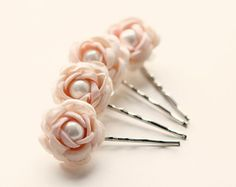 White rose hair clips Flower bobby pins Bridal by whichgoose