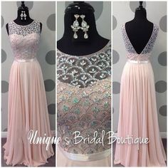 2017 Soft Pink Prom Dresses, Open Back and Beaded, Jewel Neck Real Pictures Scalloped Beaded Crystals Chiffon Long Prom Gowns Sleeveless,213