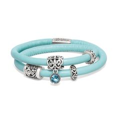 Brighton Woodstock Double Leather Bracelet with the Bijou Blue charm. #BrightonCharms