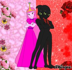 Nergal And Princess Bubblegum Loves Flowers, This Flowers Color is Red & Pink