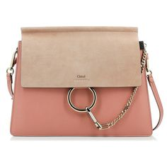 Chloé Faye Medium Rose Bag (€1.112) ❤ liked on Polyvore featuring bags, handbags, beige handbags, chloe shoulder bag, pink shoulder handbags, pink crossbody purse and crossbody handbags