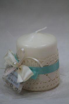 bomboniera shabby candela con pizzo perla e tag