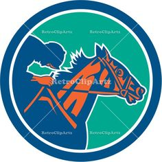 Horse Jockey Racing Circle Retro Vector Stock Illustration