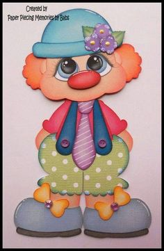Clown Premade Paper Piecing Embellishment for Scrapbook Pages by Babs Foam Crafts, Diy And Crafts, Paper Crafts, Scrapbook Patterns, Scrapbook Pages, Clown Party, Baby Binky, Paper Piecing Patterns, Punch Art