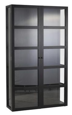 Living: Winchester vitrineskap Living Ebony, 112x36xH192 cm Varenummer75506005 kr 4995 Decor, Room, Shelves, Interior, Home, Dining, Dining Area, Bookcase