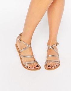 Image 1 ofASOS FLUXE Leather Flat Sandals