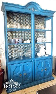 Geometric pattern wall stencil on blue kitchen dining room cabinet wood furniture - Royal Design Studio wall stencils for DIY home decor projects