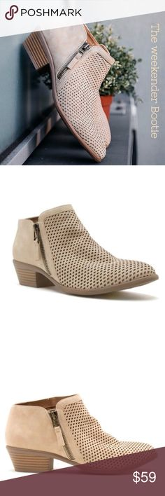 🆕🌸The Perforated Bootie It's easy to fall in love with the crisp beige perforated Bootie. Low easy heel with side zip closure. Great transition color for all seasons. Threads & Trends Shoes Ankle Boots & Booties