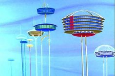 Dreamlike Concept Images of Cities that Float High Above the Clouds Future City, Future House, Bg Design, 1950s Design, Interior Design, Background Drawing, The Jetsons, Retro Futuristic, Futuristic Architecture