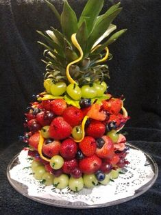 Fruit Tower Birthday Cake Healthy birthday cakes Healthy birthday