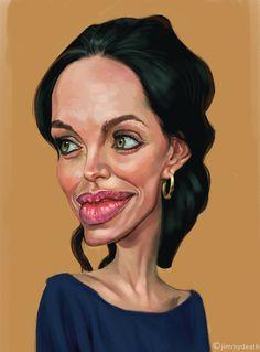 Angelina Jolie by jiangming on DeviantArt Funny Caricatures, Celebrity Caricatures, Celebrity Drawings, Cartoon Faces, Cartoon Art, Famous Cartoons, Caricature Drawing, Angelina Jolie, Dress Makeup