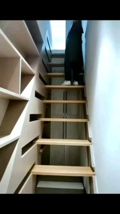 Home Stairs Design, Home Room Design, Small House Design, Interior Design Kitchen, Stair Design, Space Saving Furniture, Home Decor Furniture, Furniture Design, Diy Bedroom Decor