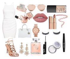"""""""Formally Rose Gold??"""" by fashionisminej ❤ liked on Polyvore featuring Madden Girl, Allurez, Kate Spade, FOSSIL, Michael Kors, Linda Farrow, Charlotte Tilbury, Lime Crime, NARS Cosmetics and Bobbi Brown Cosmetics"""