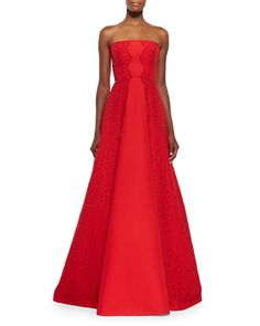 Alexis Neuss Strapless Gown w/ Lace Sides | red strapless ball gown | evening gown