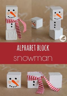 I am excited to be here today sharing this adorable Alphabet Block Snowman craft with you. Christmas Crafts For Kids, Christmas Snowman, Christmas Projects, Crafts To Do, All Things Christmas, Winter Christmas, Christmas Tree Decorations, Holiday Crafts, Christmas Holidays