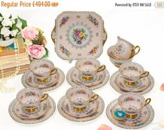 Your place to buy and sell all things handmade Sugar Bowls And Creamers, Beautiful Pink Roses, China Tea Sets, Light Reflection, Side Plates, Vintage Tea, Pastel Pink, Bone China, Crochet Patterns