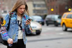 denim jacket street fashion - Google Search