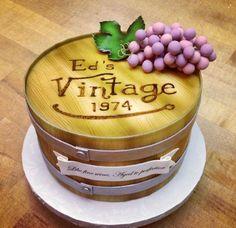 Wine barrel cake by Sweet on Cake Birthday Cake Wine, Birthday Cakes For Men, Themed Birthday Cakes, Fancy Cakes, Cute Cakes, Yummy Cakes, 80s Food, Barrel Cake, 50th Cake