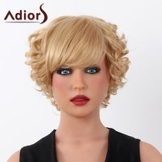 Fluffy Curly Human Hair Trendy Adiors Short Capless Wig For Women #>=#>=#>=#>=#> Click on the pin to check out discount price, color, size, shipping, etc. Save and like it!