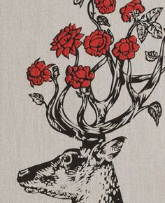 Hand Printed Belgian Linen Deer with Hand Embroidered Rose Antlers Moose Deer, Deer Art, Textile Patterns, Textiles, Embroidery Art, Photo Art, Graphic Art, Art Ideas, My Arts