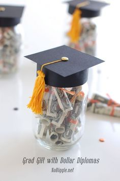 Graduation Gift with dollar diplomas | NoBiggie.net | Give your grad the gift they want most...money in a jar! We have a few good friends and family graduating from High School this week. We all know that grads love the money, so I put together a few simple graduation gifts that any grad would love:…