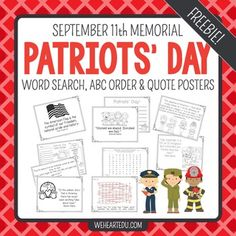 Students will enjoy the word search and ABC order activities. They can use the writing sheet to share what they've learned. You can choose to hang the quote posters around the room or use as coloring sheets. Social Studies Classroom, School Classroom, Reading Activities, Classroom Activities, Holiday Activities, Patriots Day Activities, Constitution Day, Back To School Gifts, Beginning Of School