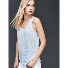 Gap Women Linen Stripe Scoop Tank ($22) ❤ liked on Polyvore featuring tops, regular, simply blue, strappy tank, jersey tank, blue tank top, blue striped tank top and spaghetti-strap tank tops