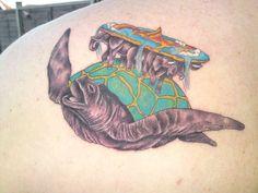 Terry Pratchett& Discworld - the Great A& swimming through space Body Art Tattoos, Small Tattoos, Sleeve Tattoos, Geek Tattoos, Colour Tattoos, Tatoos, Book Tattoo, Tattoo Quotes, Discworld Tattoo