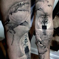 Men's Ghost Ship Tattoo Inner Arms