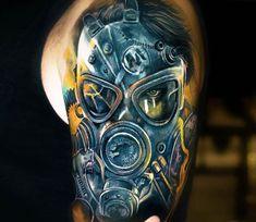3 colors realistic tattoo style of Gas Mask motive done by tattoo artist Julien Thibers Body Art Tattoos, Sleeve Tattoos, Dark Art Tattoo, Reaper Tattoo, Biomechanical Tattoo, Mask Tattoo, Dark Art Drawings, World Tattoo, Arte Horror