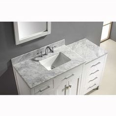 White w/ Square Sink Top View