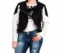 VERO MODA Canes black and white leather jacket Styled with quilted shoulders and white arms, this stylish biker jacket from Vero Moda will give your wardrobe a high-fashion boost. Fabric: outer - 100% leather, lining - 100% polyesterFit: true to s http://www.comparestoreprices.co.uk/clothing/vero-moda-canes-black-and-white-leather-jacket.asp