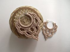 Bonita Crocheted Over Sterling Silver Hoop Earrings in Linen