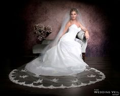"Brand new veil ""Tamara"" from The Wedding Veil Shop! Wedding, bridal, veil, chapel, cathedral, lace, beaded,appliques"