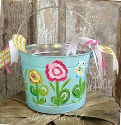 Easter Basket Hand Painted Canvas Bucket style by TwizzleStitches ...
