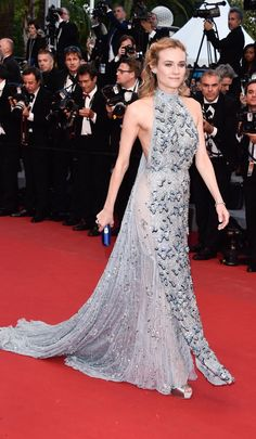 Diane Kruger, in Prada, with Harry Winston jewels and Jimmy Choo shoes - #Cannes2015