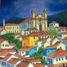 OURO PRETO - Pintura,  100x100 cm ©2005 por Sandro José Da Silva -                              Arte figurativa, OIL          PAINTING