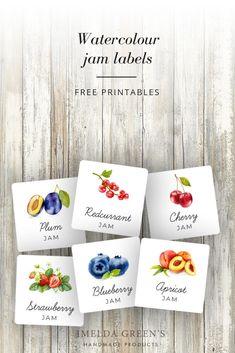 Free Printable Jam Labels  | watercolor food illustration Jam Jar Labels, Jam Label, Fruit Illustration, Food Illustrations, Printable Labels, Free Printables, Jam Packaging, Watercolor Fruit, Fruit Jam